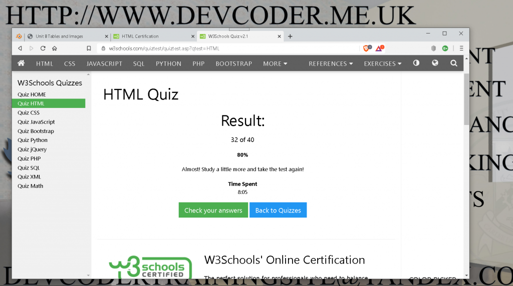 HTML Certification Exam Prep Resuslt